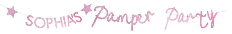 Pamper Party Pink Glitter Customisable Bunting Kit Product Gallery Image