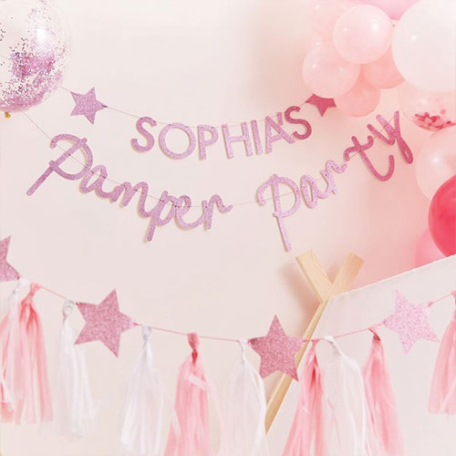 Pamper Party Pink Glitter Customisable Bunting Kit