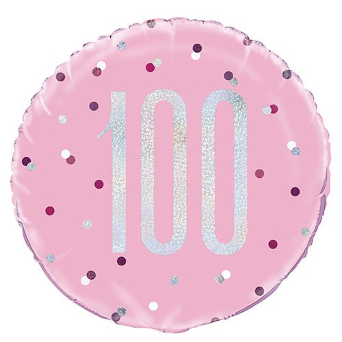 Pink Glitz Age 100 Holographic Round Foil Helium Balloon 46cm / 18 in Product Image