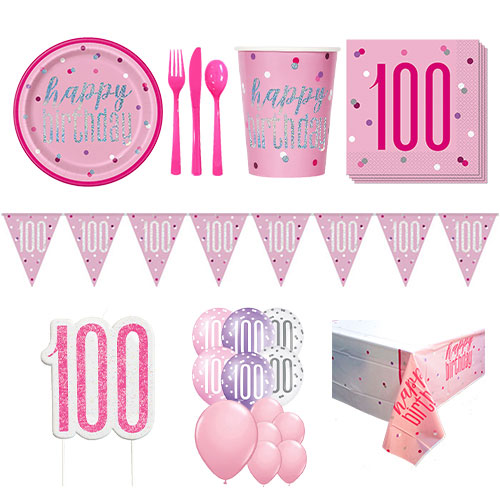 Pink Glitz 100th Birthday 16 Person Deluxe Party Pack