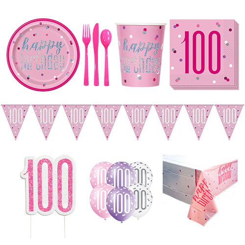 Pink Glitz 100th Birthday 8 Person Deluxe Party Pack