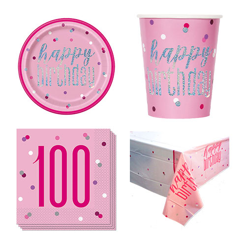 Pink Glitz 100th Birthday 8 Person Value Party Pack