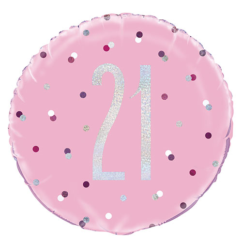 Pink Glitz Age 21 Holographic Round Foil Helium Balloon 46cm / 18 in