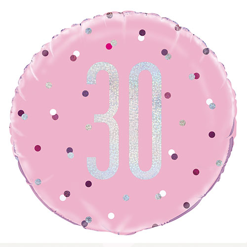 Pink Glitz Age 30 Holographic Round Foil Helium Balloon 46cm / 18 in