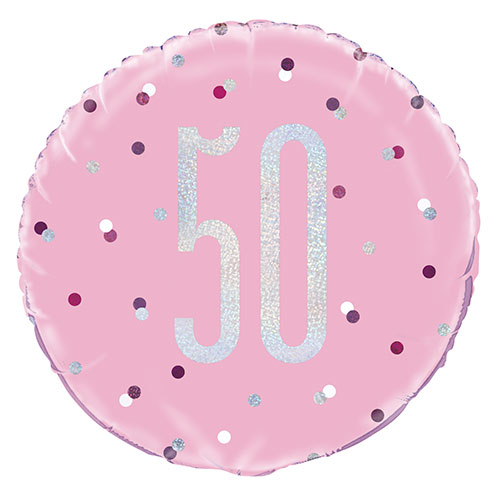 Pink Glitz Age 50 Holographic Round Foil Helium Balloon 46cm / 18 in