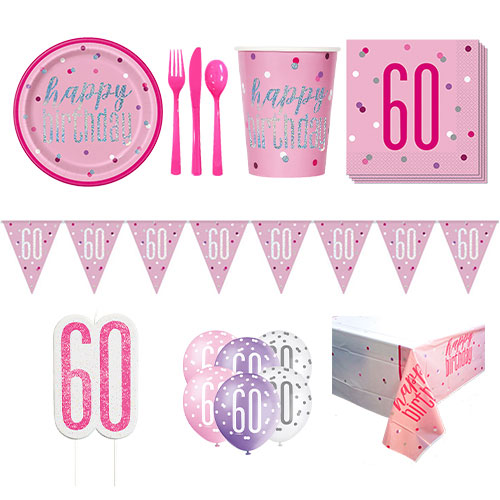 Pink Glitz 60th Birthday 8 Person Deluxe Party Pack