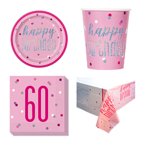 Pink Glitz 60th Birthday 8 Person Value Party Pack