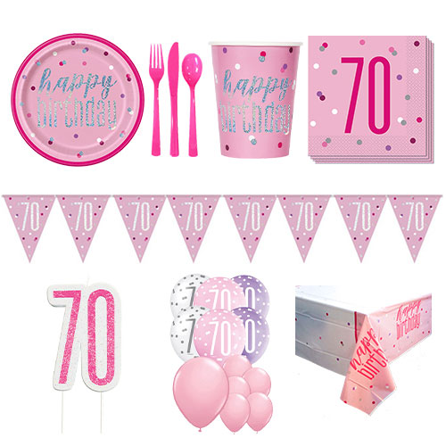 Pink Glitz 70th Birthday 16 Person Deluxe Party Pack