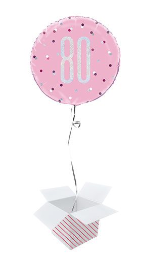 Pink Glitz Age 80 Holographic Round Foil Helium Balloon - Inflated Balloon in a Box