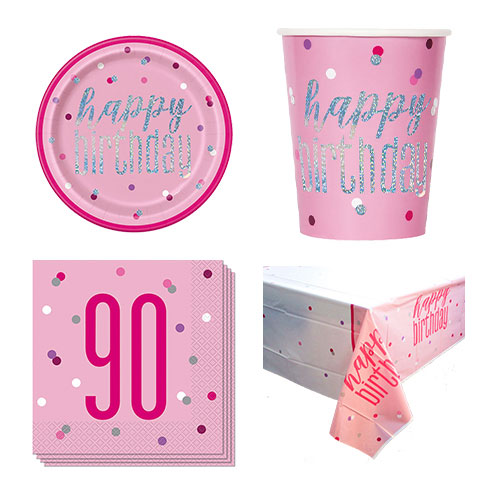 Pink Glitz 90th Birthday 8 Person Value Party Pack