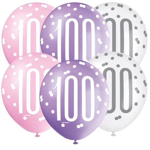 Pink Glitz Age 100 Assorted Biodegradable Latex Balloons 30cm / 12 in - Pack of 6 Product Image