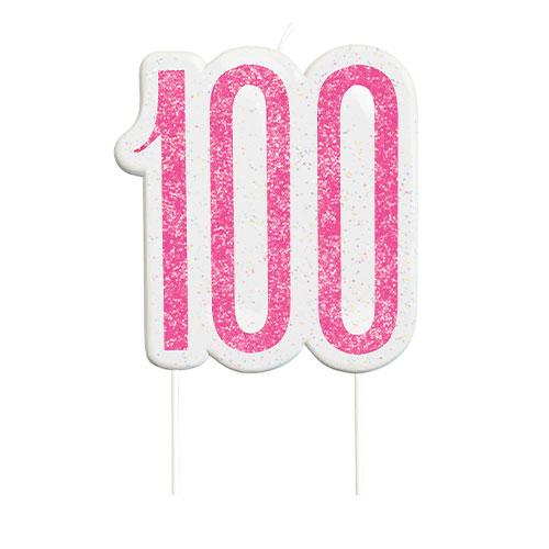 Pink Glitz Age 100 Birthday Candle 9cm
