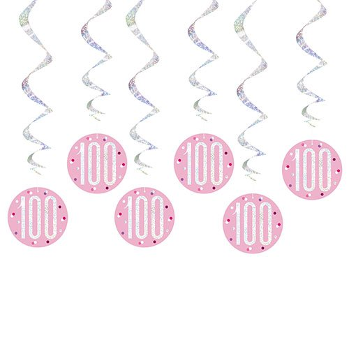 Pink Glitz Age 100 Holographic Hanging Swirl Decorations - Pack of 6 Product Image