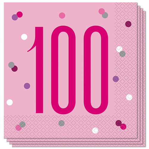 Pink Glitz Age 100 Luncheon Napkins 33cm 2Ply - Pack of 16