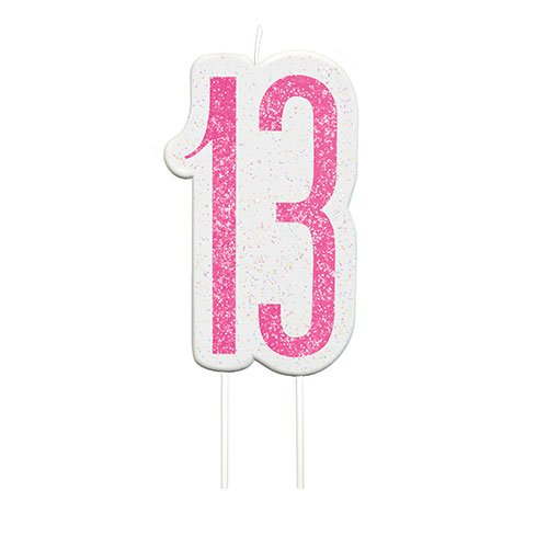 Pink Glitz Age 13 Birthday Candle 9cm Bundle Product Image