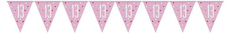 Pink Glitz Age 13 Holographic Foil Pennant Bunting 274cm Bundle Product Image