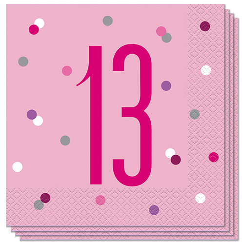 Pink Glitz Age 13 Luncheon Napkins 33cm 2Ply - Pack of 16 Product Image