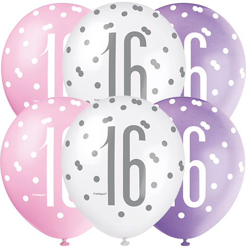 Pink Glitz Age 16 Assorted Biodegradable Latex Balloons 30cm / 12 in - Pack of 6