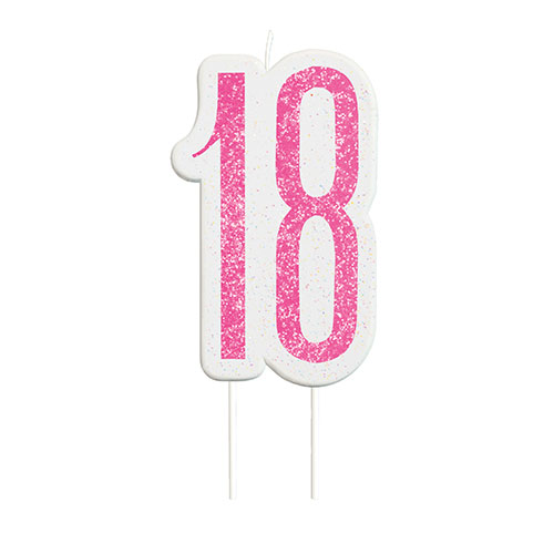 Pink Glitz Age 18 Birthday Candle 9cm