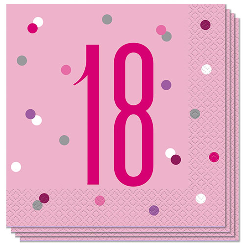 Pink Glitz Age 18 Luncheon Napkins 33cm 2Ply - Pack of 16