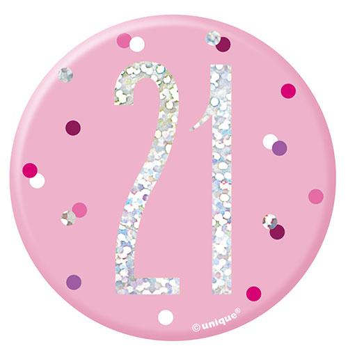 Pink Glitz Age 21 Holographic Birthday Badge 7cm