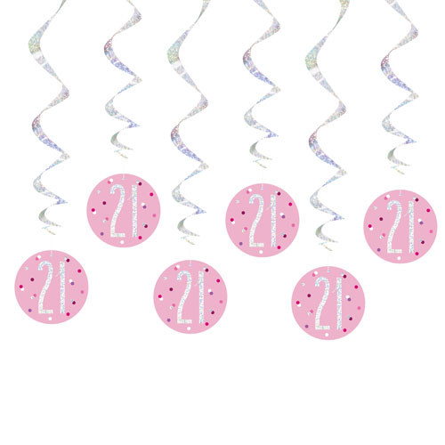 Pink Glitz Age 21 Holographic Hanging Swirl Decorations - Pack of 6 Product Image
