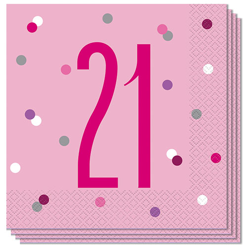 Pink Glitz Age 21 Luncheon Napkins 33cm 2Ply - Pack of 16