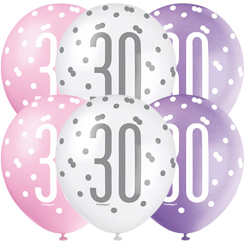 Pink Glitz Age 30 Assorted Biodegradable Latex Balloons 30cm / 12 in - Pack of 6