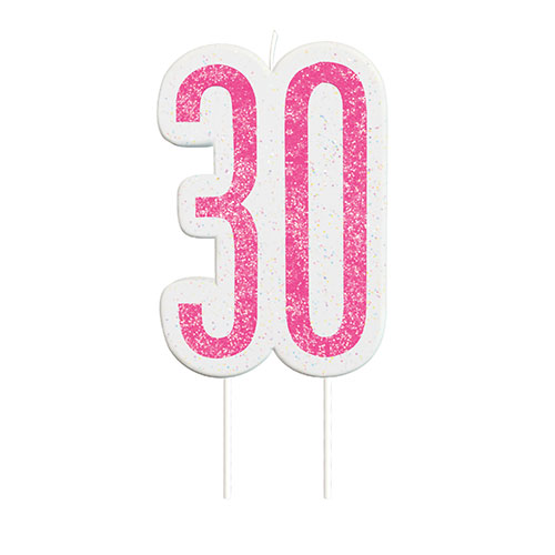Pink Glitz Age 30 Birthday Candle 9cm