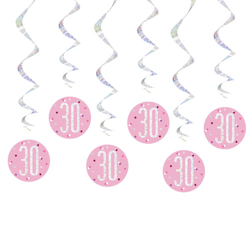 Pink Glitz Age 30 Holographic Hanging Swirl Decorations - Pack of 6 Product Image