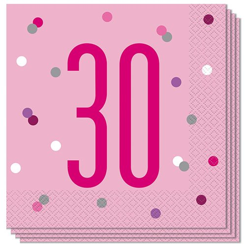 Pink Glitz Age 30 Luncheon Napkins 33cm 2Ply - Pack of 16 Product Image