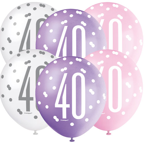 Pink Glitz Age 40 Assorted Biodegradable Latex Balloons 30cm / 12 in - Pack of 6 Bundle Product Image