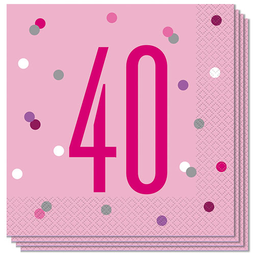 Pink Glitz Age 40 Luncheon Napkins 33cm 2Ply - Pack of 16