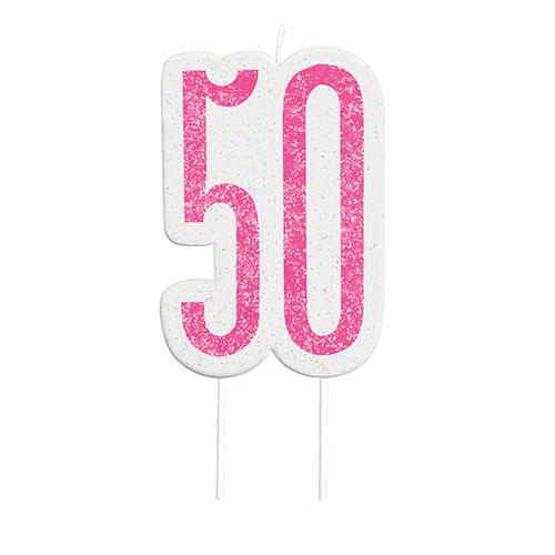 Pink Glitz Age 50 Birthday Candle 9cm