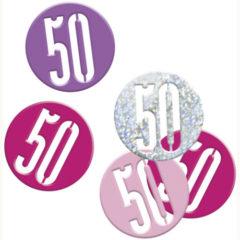 Pink Glitz Age 50 Holographic Assorted Table Confetti 14 Grams