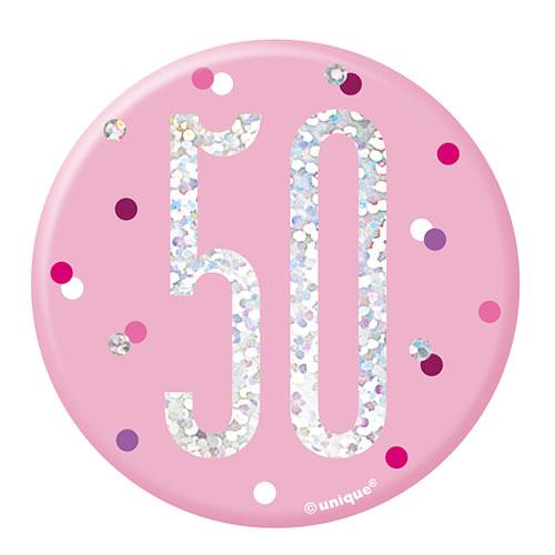 Pink Glitz Age 50 Holographic Birthday Badge 7cm