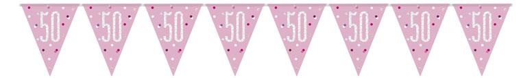 Pink Glitz Age 50 Holographic Foil Pennant Bunting 274cm Bundle Product Image