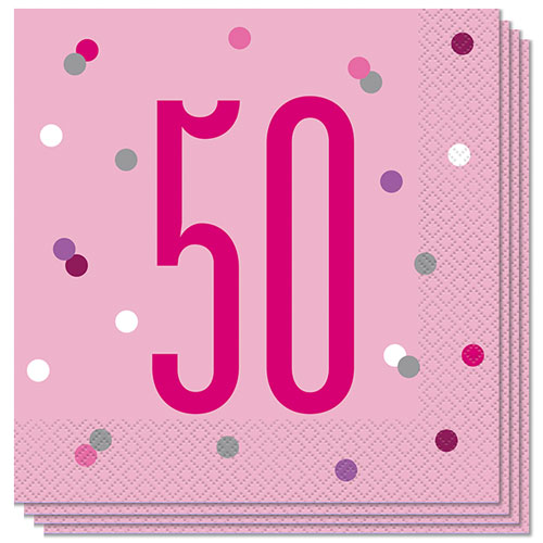 Pink Glitz Age 50 Luncheon Napkins 33cm 2Ply - Pack of 16 Bundle Product Image