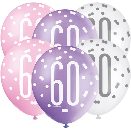 Pink Glitz Age 60 Assorted Biodegradable Latex Balloons 30cm / 12 in - Pack of 6