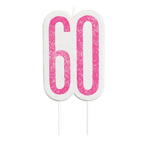 Pink Glitz Age 60 Birthday Candle 9cm Bundle Product Image