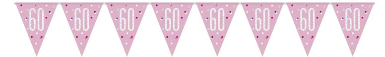 Pink Glitz Age 60 Holographic Foil Pennant Bunting 274cm
