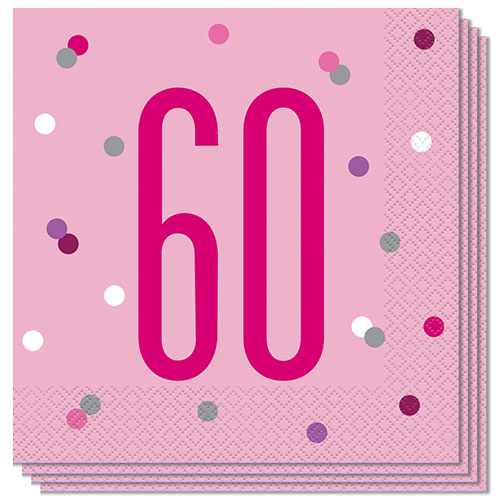 Pink Glitz Age 60 Luncheon Napkins 33cm 2Ply - Pack of 16 Bundle Product Image