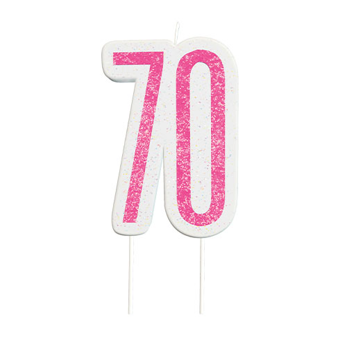 Pink Glitz Age 70 Birthday Candle 9cm
