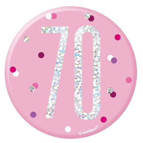 Pink Glitz Age 70 Holographic Birthday Badge 7cm