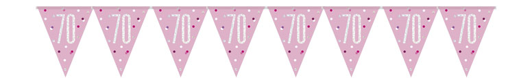 Pink Glitz Age 70 Holographic Foil Pennant Bunting 274cm