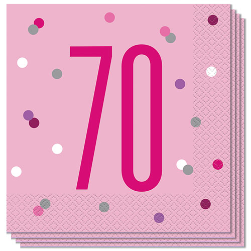 Pink Glitz Age 70 Luncheon Napkins 33cm 2Ply - Pack of 16