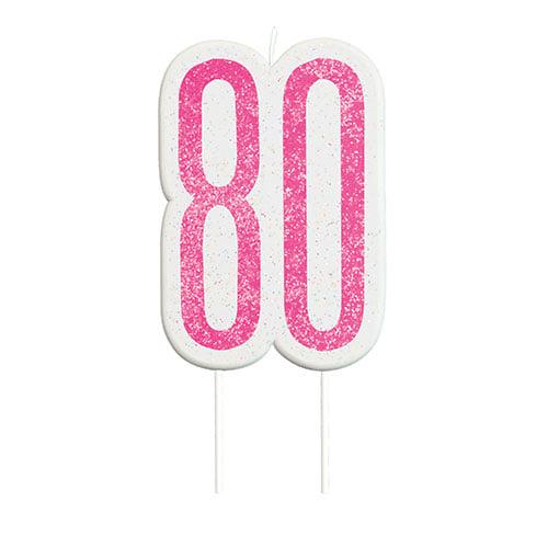 Pink Glitz Age 80 Birthday Candle 9cm Product Image