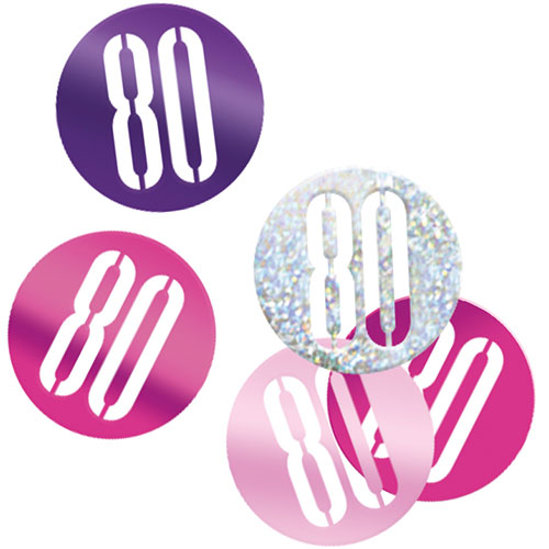 Pink Glitz Age 80 Holographic Assorted Table Confetti 14 Grams Product Image