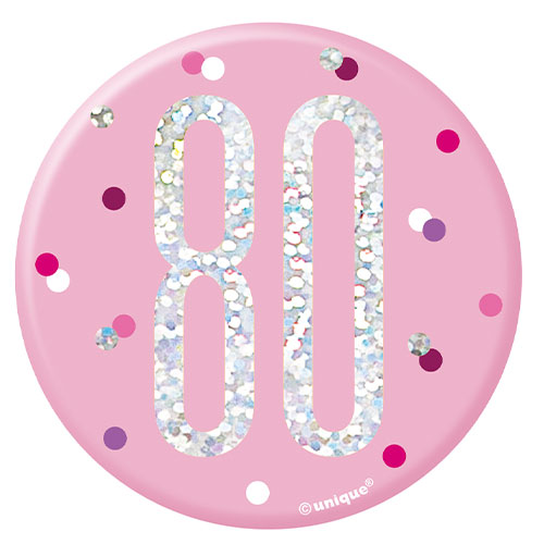 Pink Glitz Age 80 Holographic Birthday Badge 7cm