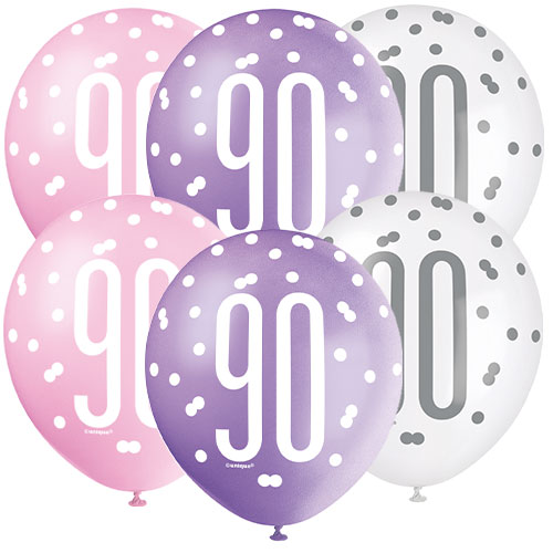 Pink Glitz Age 90 Assorted Biodegradable Latex Balloons 30cm / 12 in - Pack of 6